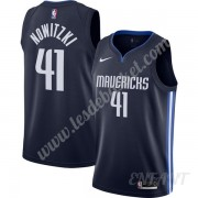 Maillot De Basket Enfant Dallas Mavericks 2019-20 Dirk Nowitzki 41# Bleu Marine Finished Statement E..