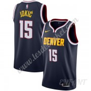 Maillot De Basket Enfant Denver Nuggets 2019-20 Nikola Jokic 15# Bleu Marine Icon Edition Swingman..