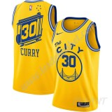 Maillot De Basket Enfant Golden State Warriors 2019-20 Stephen Curry 30# Jaune Finished Hardwood Classics Swingman