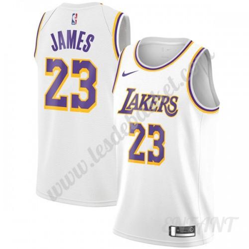 Lebron James Maillot # 23 /Édition Or Blanc pour Homme Maillot De Basketball Los Angeles Lakers Gilet De Sport Swingman De Basketball en Maille Brod/ée White Gold-S