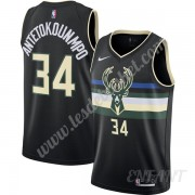 Maillot De Basket Enfant Milwaukee Bucks 2019-20 Giannis Antetokounmpo 34# Noir Finished Statement E..