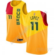 Maillot De Basket Enfant Milwaukee Bucks 2019-20 Brook Lopez 11# Jaune City Edition Swingman..