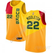 Maillot De Basket Enfant Milwaukee Bucks 2019-20 Khris Middleton 22# Jaune City Edition Swingman..