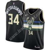 Maillot NBA Milwaukee Bucks 2019-20 Giannis Antetokounmpo 34# Noir Finished Statement Edition Swingman