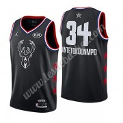Maillot NBA Pas Cher Milwaukee Bucks 2019 Giannis Antetokounmpo 34# Noir All Star Game Swingman..