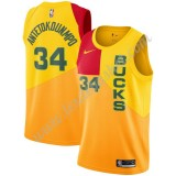Maillot NBA Milwaukee Bucks 2019-20 Giannis Antetokounmpo 34# Jaune City Edition Swingman