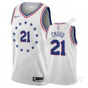Maillot De Basket Enfant Philadelphia 76ers 2019-20 Joel Embiid 21# Gris Earned Edition Swingman..