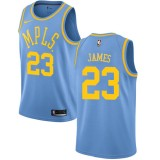 Maillot NBA Los Angeles Lakers 2018 LeBron James 23# Light Blue Hardwood Classics