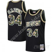 Maillot De Basket Enfant Houston Rockets 1993-94 Hakeem Olajuwon 34# Noir Straight Fire Camo Swingma..