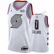 Maillot NBA Pas Cher Portland Trail Blazers 2019 Damian Lillard 0# Blanc All Star Game Swingman..